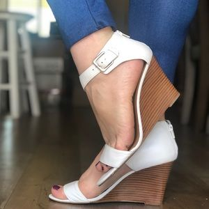 White leather sandals ankle strap